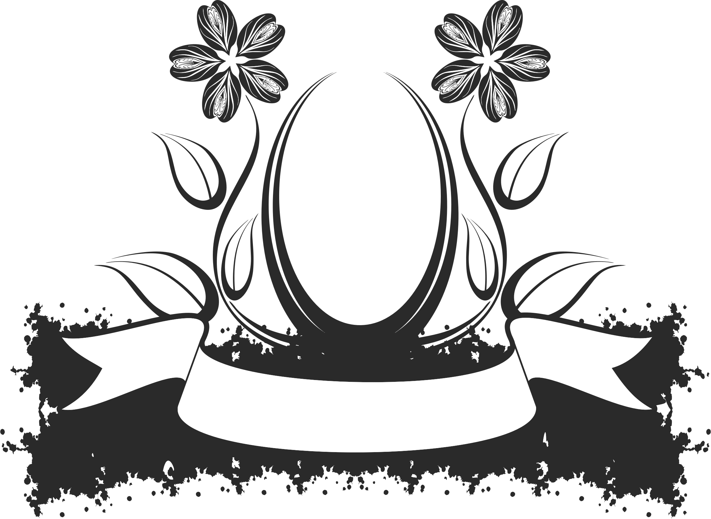 Black and white crown design clipart vector library library Clipart - Abstract Floral Design 3 vector library library