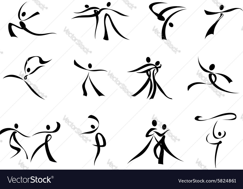 Abstract dancer clipart free banner black and white stock Abstract black icons of dancing people banner black and white stock