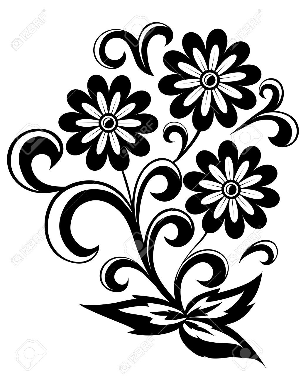 Abstract flower clipart free graphic royalty free Stock Vector | Вышивка 1 | Abstract flowers, Black, white abstract ... graphic royalty free