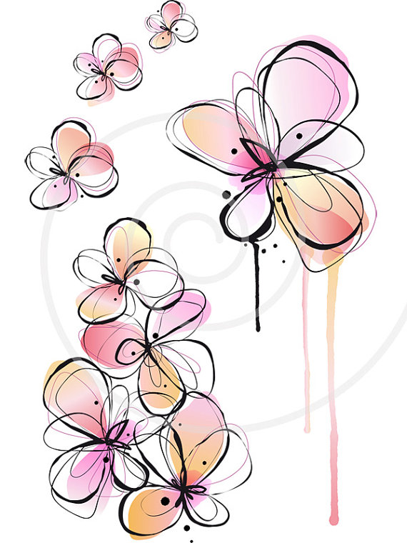 Abstract floral clipart clipart library stock Abstract spring flowers, digital clip art, floral clipart, ink ... clipart library stock