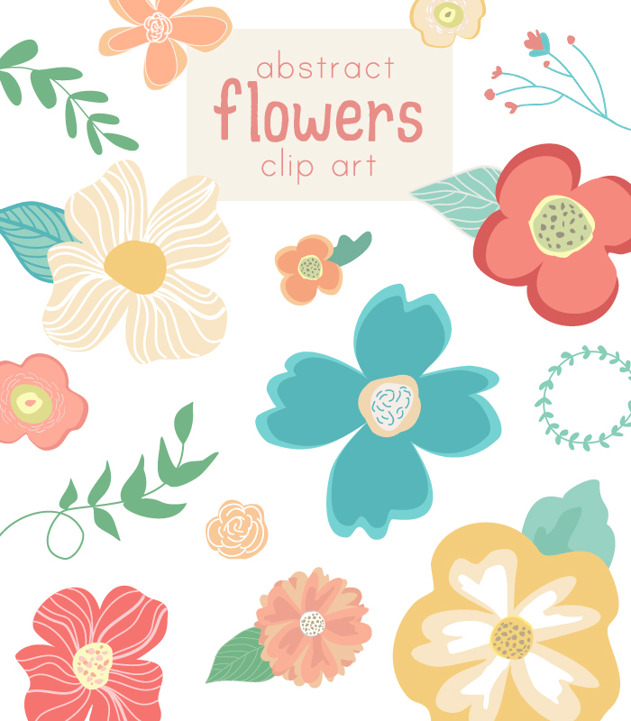 Cute clipart flowers image black and white stock Abstract Cute Flower Vector Clip Art image black and white stock