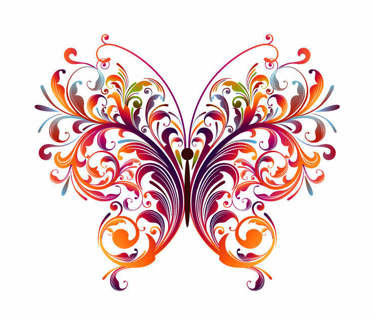 Abstract floral clipart jpg free stock Abstract Floral Butterfly Graphic (21032) Free EPS Download / 4 Vector jpg free stock