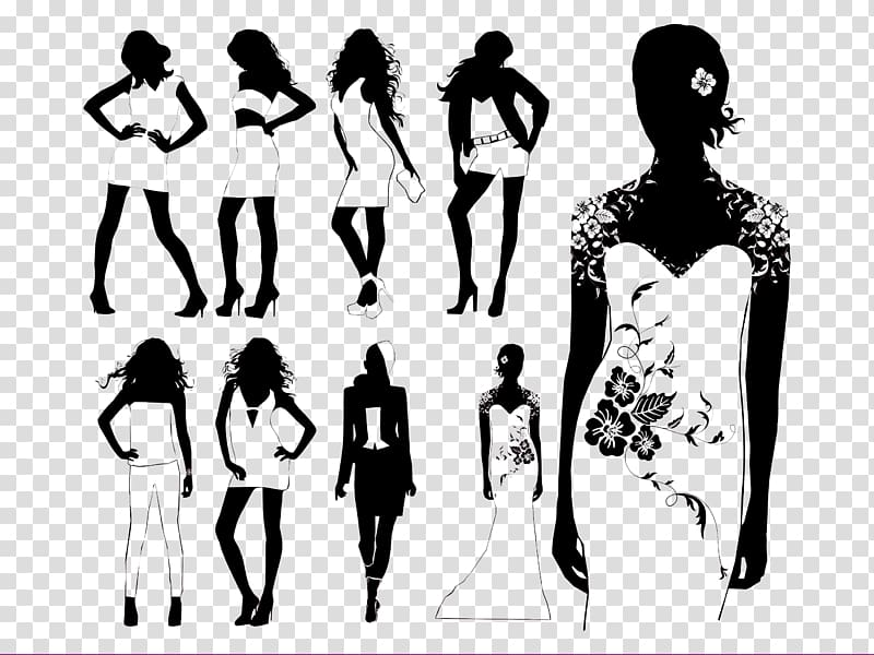 Model Fashion Runway Silhouette, Black and white women\\\'s models ... freeuse