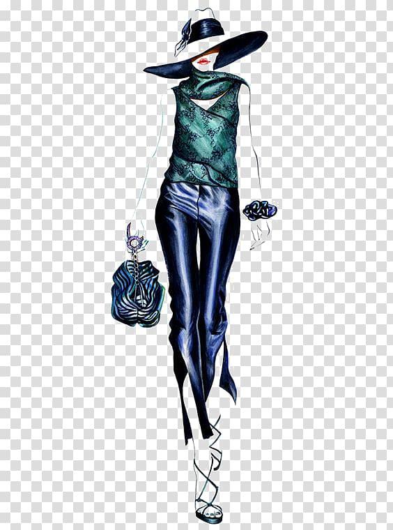 Women\'s green shirt illustration, Fashion illustration Runway ... vector library