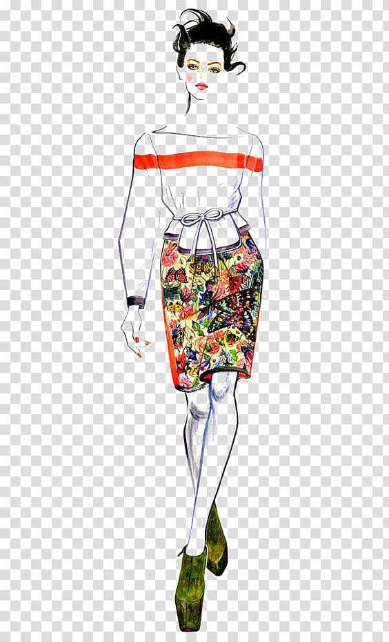 Woman wearing dress art, Chanel Fashion illustration Runway ... svg library