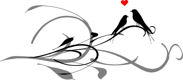 Abstract love bird clipart graphic freeuse download Love Birds On A Branch Black Dark Grey Clip Art at Clker.com ... graphic freeuse download