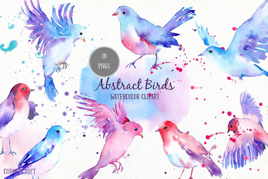 Abstract love bird clipart svg black and white stock Watercolor Abstract Flying Birds svg black and white stock