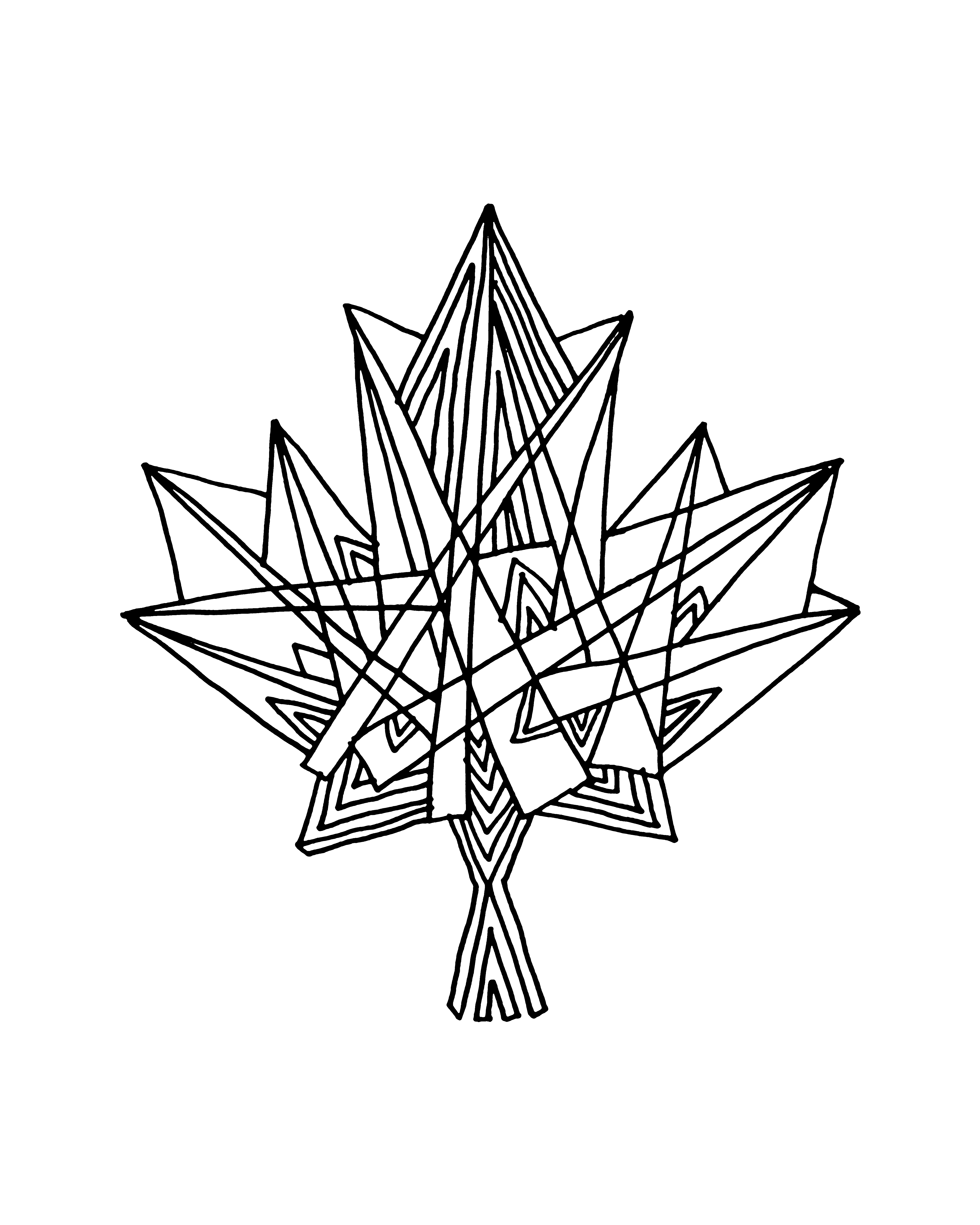 Abstract maple leaf clipart coloring black and white clip download 10,000 Pages: Canadian Maple Leaf Colouring Page 5831 clip download