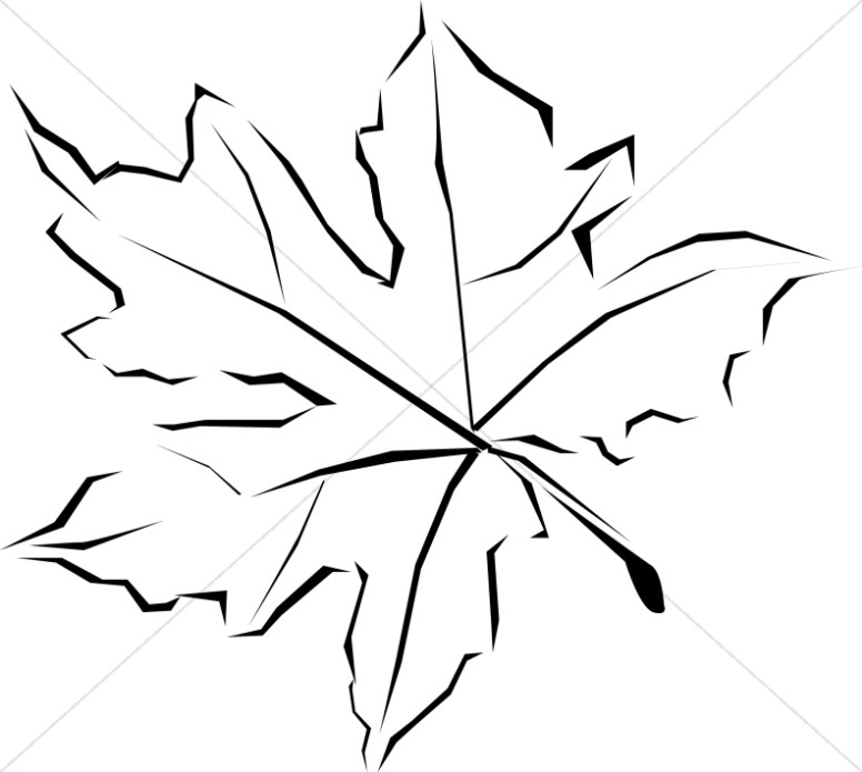 Abstract maple leaf clipart coloring black and white jpg library library Line Art Fall Leaf | Leaf Clipart jpg library library