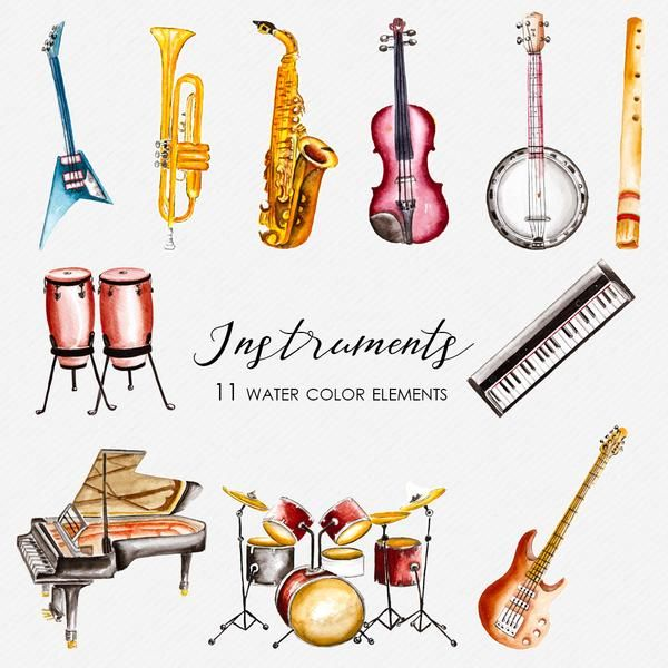 Abstract musical instrument clipart ideas download Musical Instruments Watercolor Clipart CA0004 | Clip art in 2019 ... download