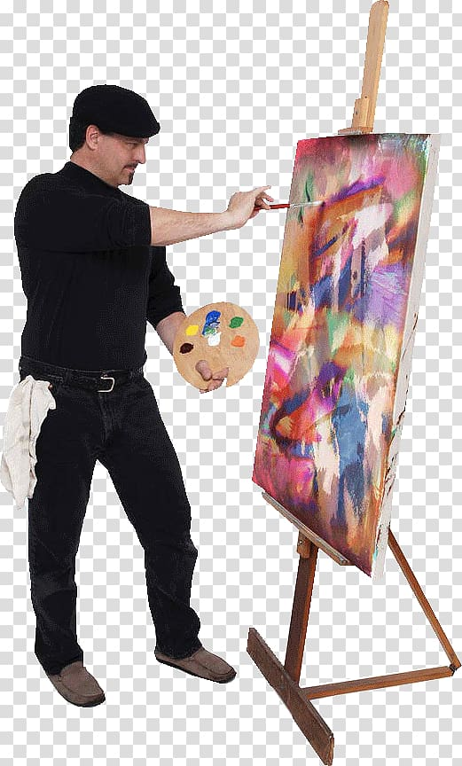 Man doing abstract painting, Oil painting Artist Palette, painter ... clipart transparent download