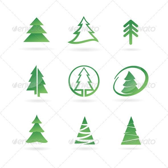Abstract pine tree clipart graphic free download Pine Tree Icons #GraphicRiver Pine tree abstract icon set. Created ... graphic free download