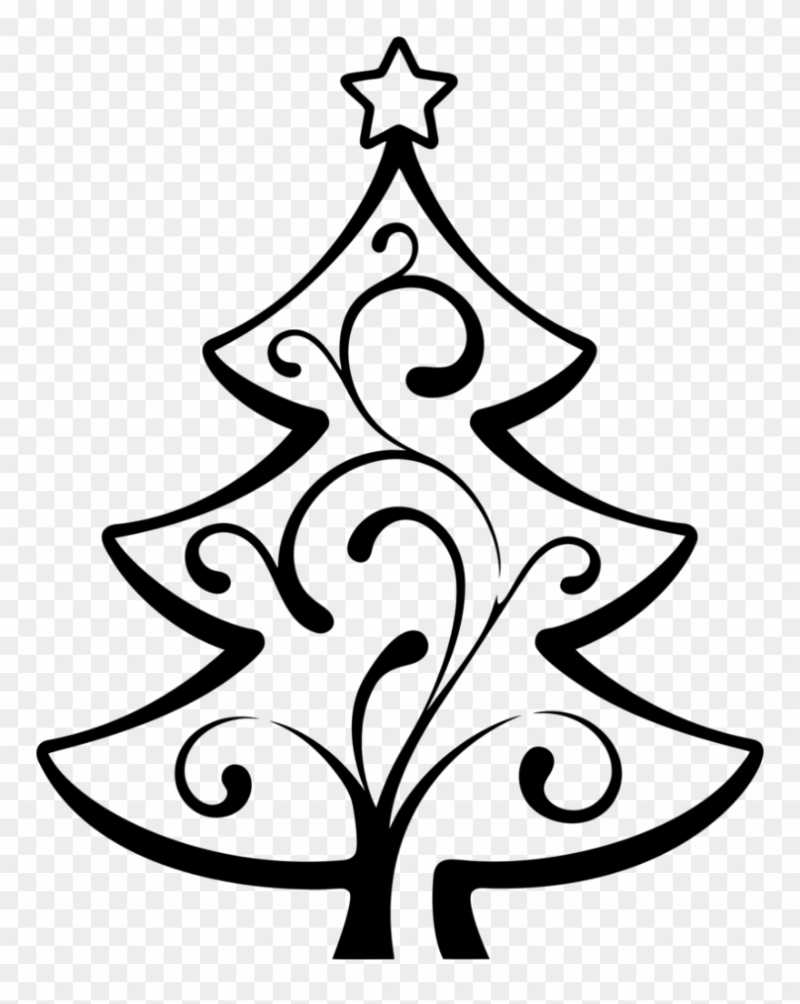 Christmas Tree Line Art Christmas Day Drawing Abstract - Clipart ... banner royalty free download