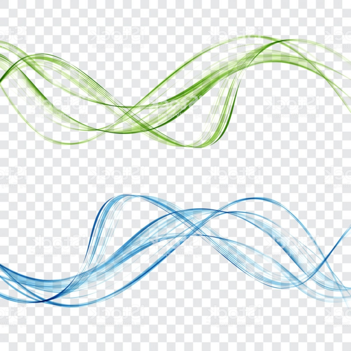 Abstract Blue And Green Waves Set On A Transparent Background Gm ... image freeuse stock