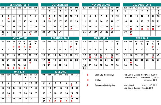 Academic calendar 2018 2019 clipart banner library School Year Calendar - St. Clair CDS Board banner library
