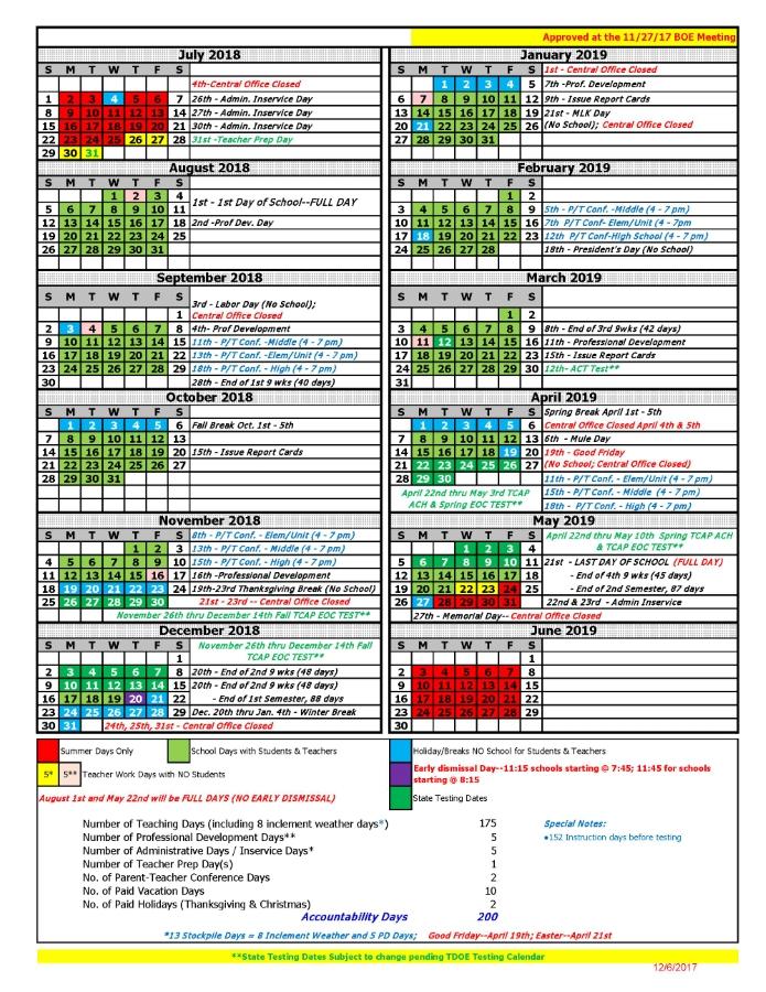 Academic calendar 2018 2019 clipart vector library download 2018 - 2019 Calendar - Maury County Public Schools vector library download
