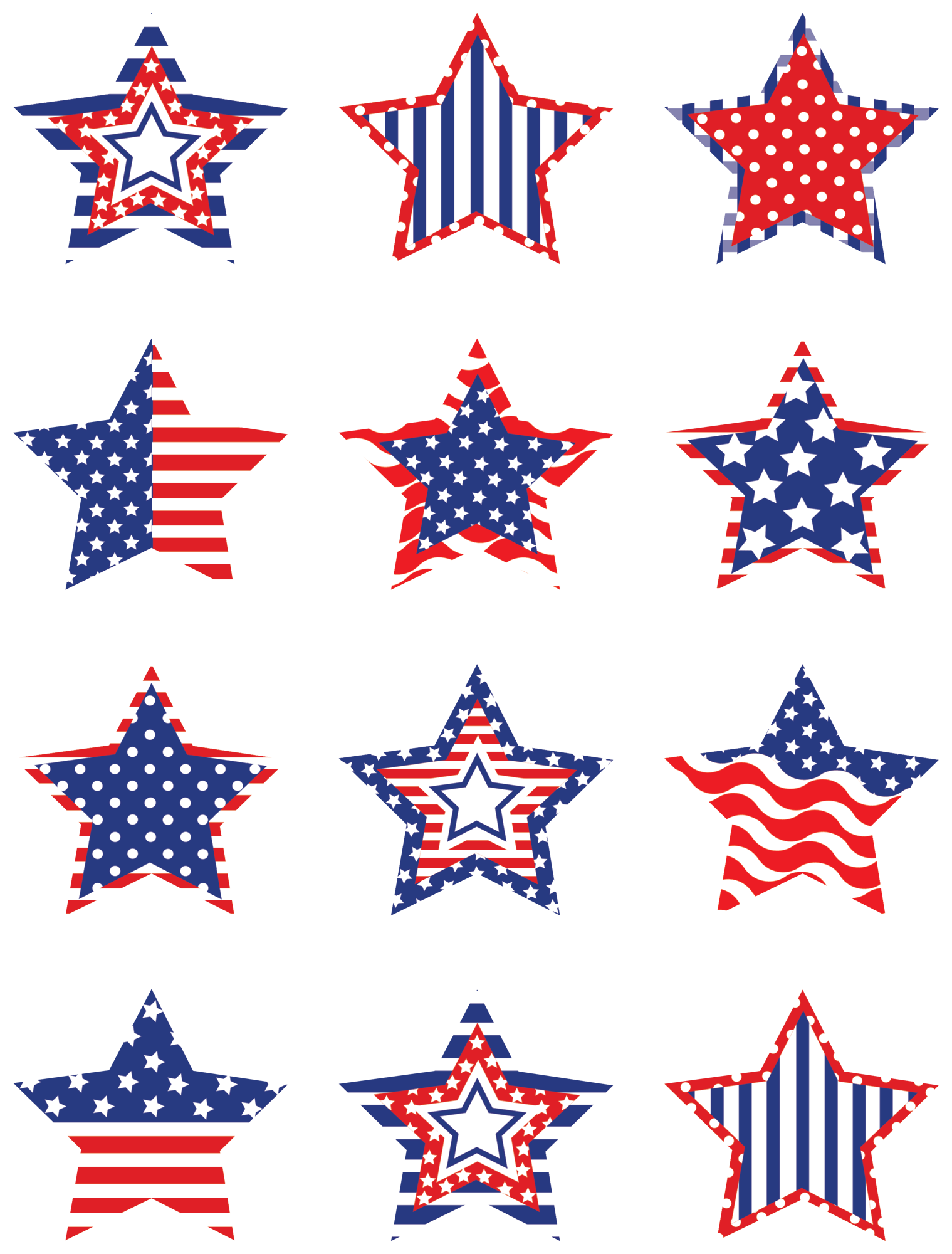 Accent star clipart transparent stock Patriotic Stars Mini Accents | Capt america, Minis and Star transparent stock