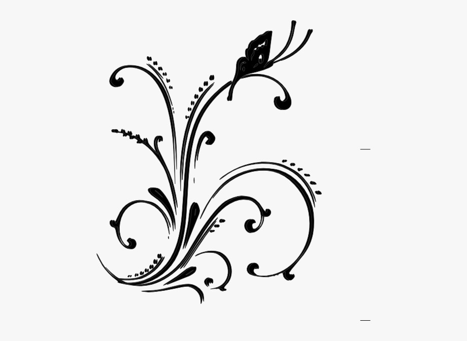 Scrollwork Clipart Accent - Flowers And Butterflies Black And White ... library