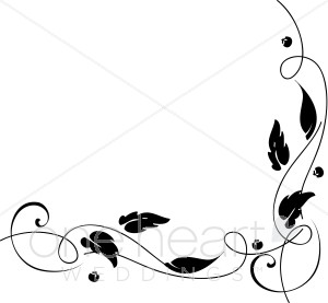 Clipart of vines and ivey black and white