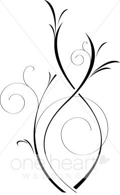 Elegant Black and White Vine Clip Art | Wedding Flourish banner download