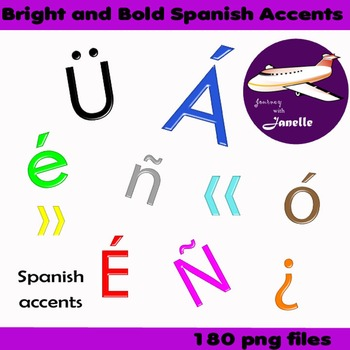 Accents in spanish clipart clip art freeuse Spanish Accents Clip Art Bright and Bold - Match my full set in store clip art freeuse