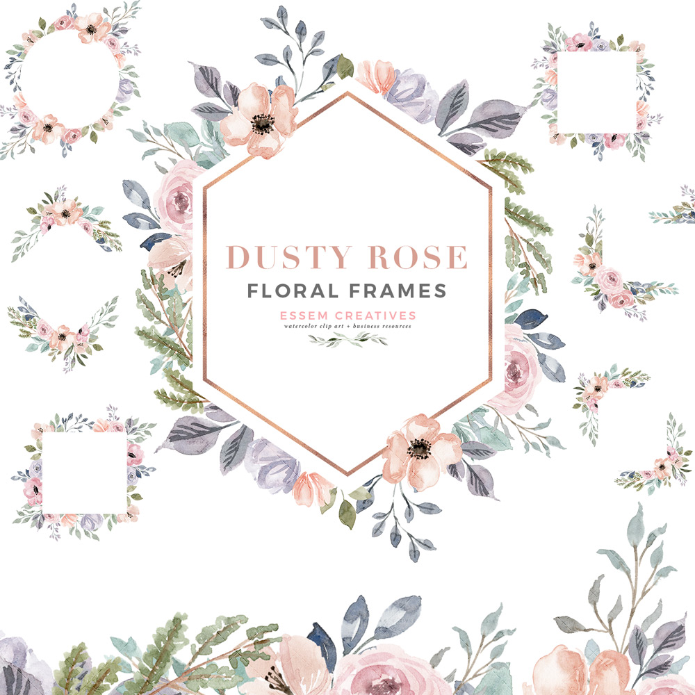 Accents wreath clipart jpg royalty free library Dusty Rose Watercolor Floral Frames Clipart with Geometric Rose Gold Accents jpg royalty free library