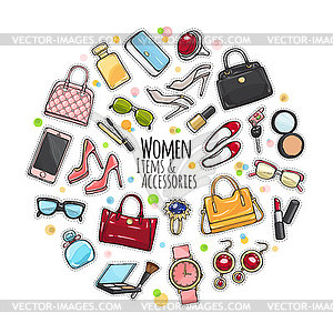 Accesories clipart clip art library library Set of Different Women Items and Accessories - vector clipart clip art library library