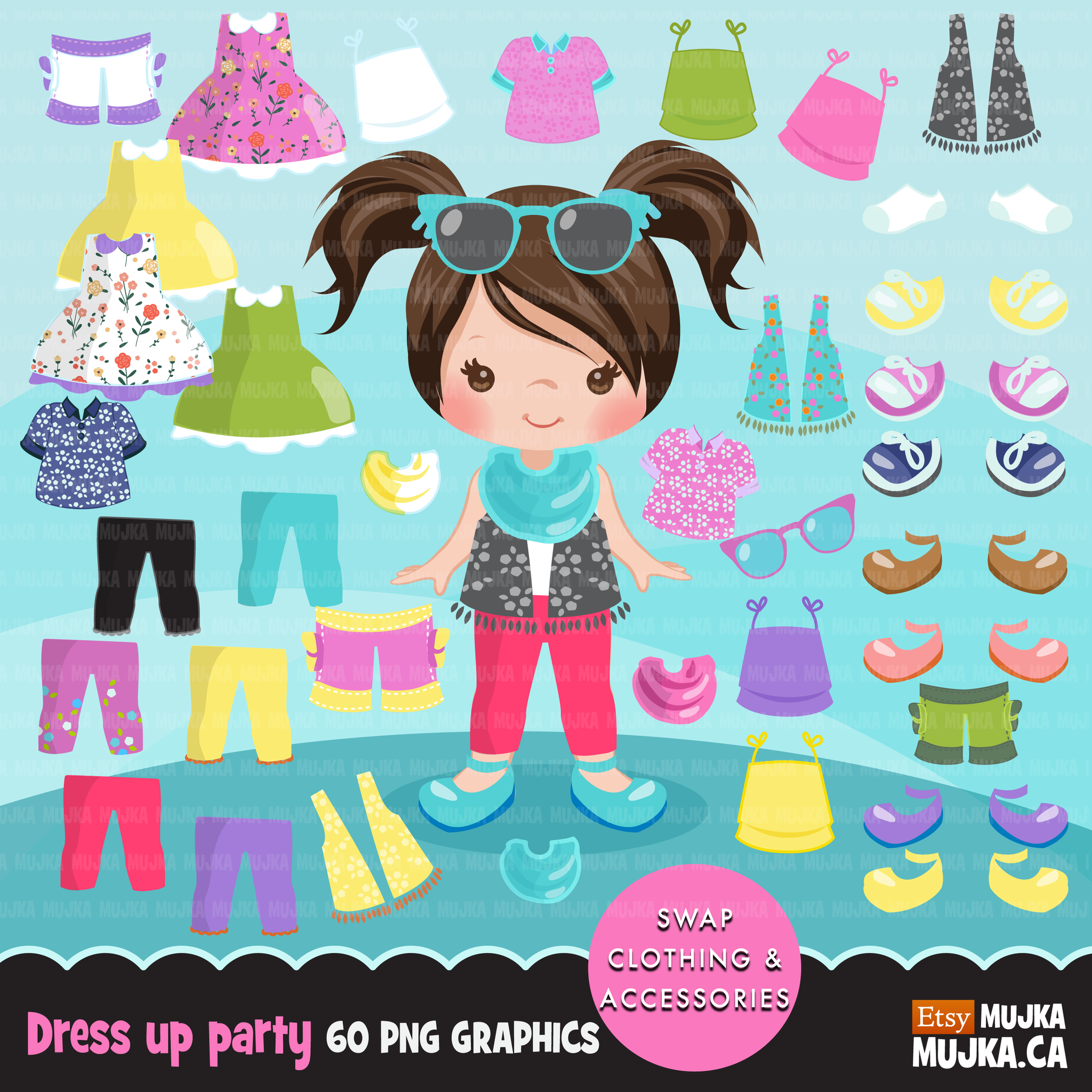 Accesories clipart royalty free Paper Doll clipart Bundle. Collection of little girl clothing and  accessories royalty free