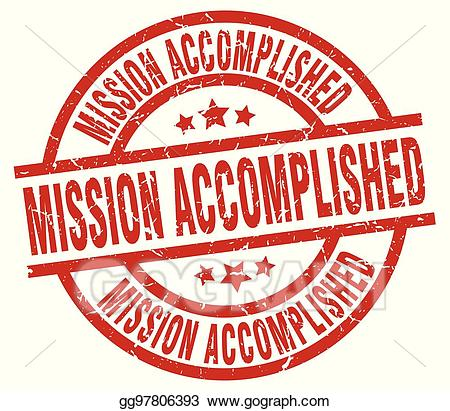 Vector Art - Mission accomplished round red grunge stamp. Clipart ... svg black and white download