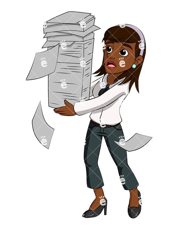 A Black Businesswoman Juggling A Stack of Papers As It Begins To ... clip freeuse stock