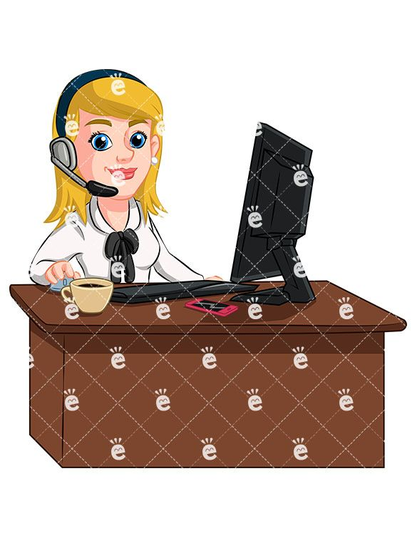 Accounting boss clipart image transparent stock A Businesswoman At Her Desk Wearing A Headset | Cartoon ... image transparent stock