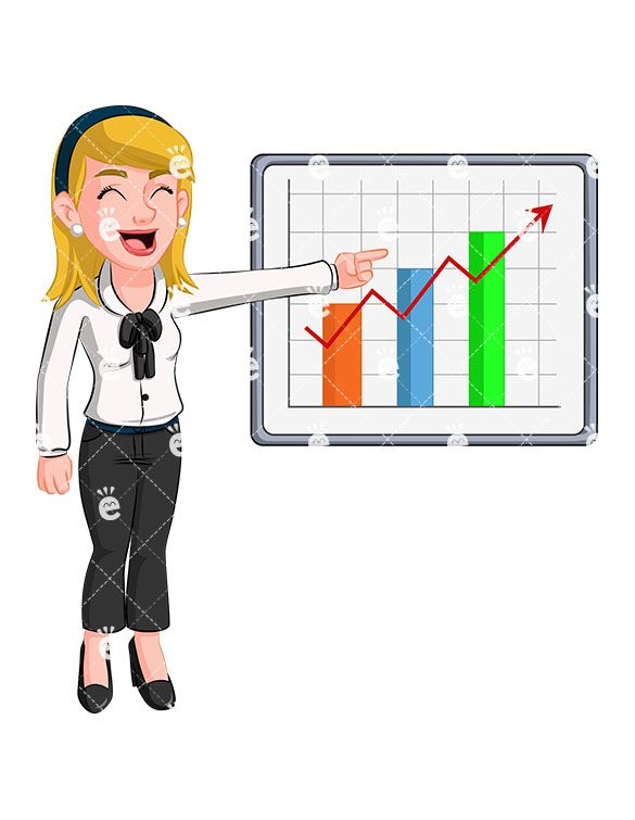 Accounting boss clipart banner free download A Delighted Blonde Woman Pointing To A Sales Graph | Caucasian ... banner free download