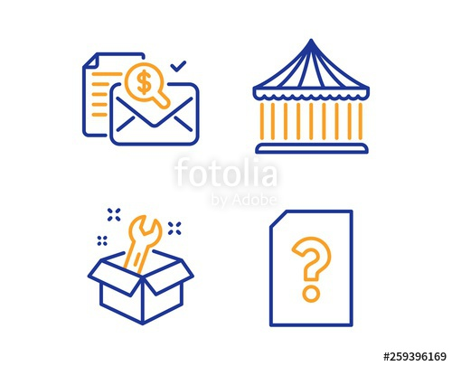 Accounting report, Spanner and Carousels icons simple set. Unknown ... image transparent stock