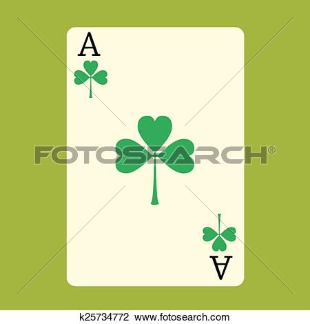Ace clipart green black and white Clipart of Playing card ACE with a green Shamrock Patrick's day ... black and white