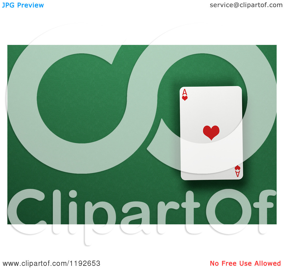 Ace clipart green clip library library Clipart of a 3d Ace of Hearts Playing Card over a Green Felt ... clip library library