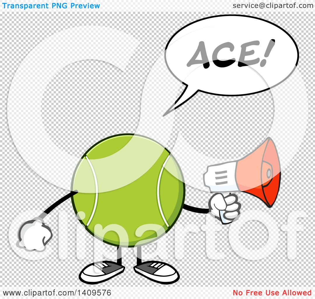 Ace clipart green black and white stock Clipart of a Cartoon Tennis Ball Character Mascot Using a ... black and white stock