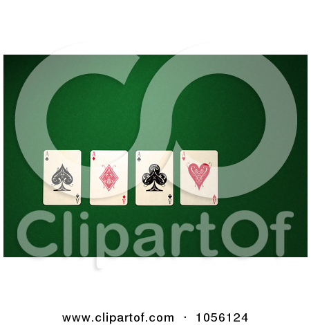 Ace clipart green clip art free stock Clipart of a 3d Ace of Hearts Playing Card over a Green Felt ... clip art free stock