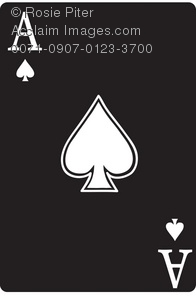Clip Art Illustration Of A Black Ace Of Spades Playing Card royalty free download