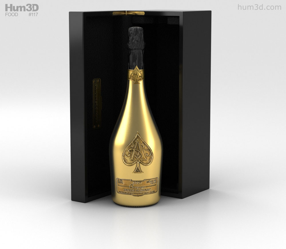 Ace of Spades Champagne 3D model svg freeuse stock