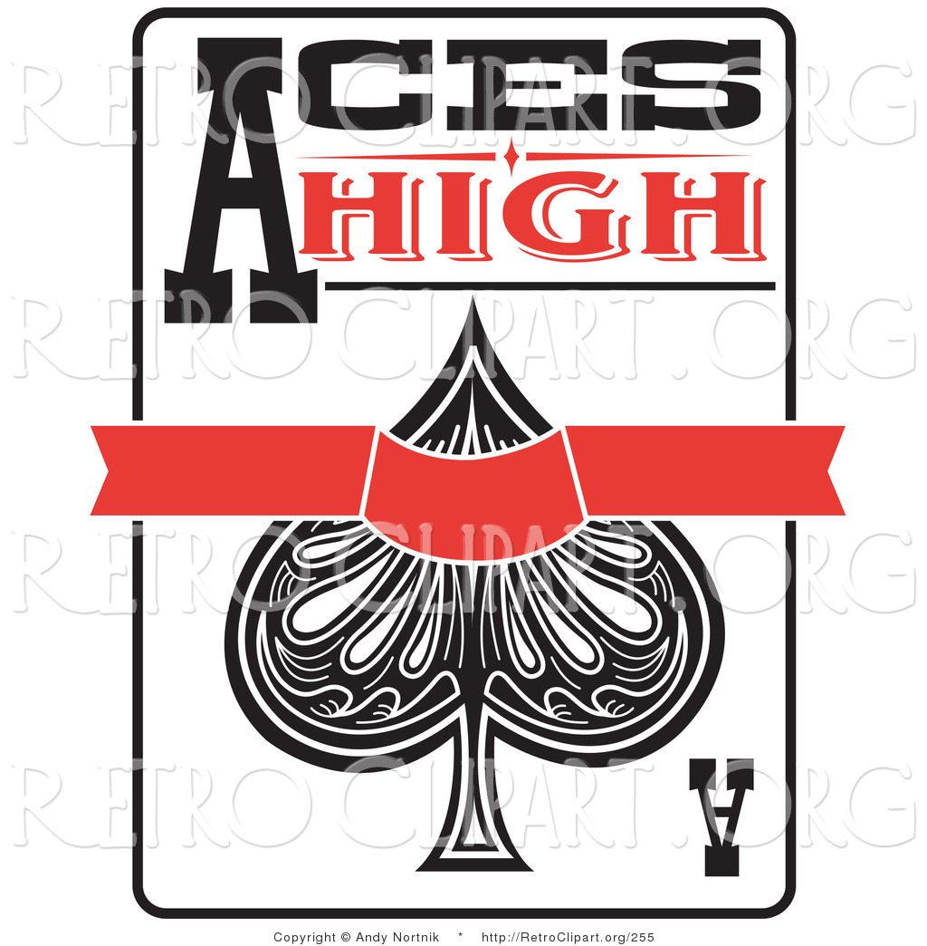 Ace playing card clipart. Of spades kid retro