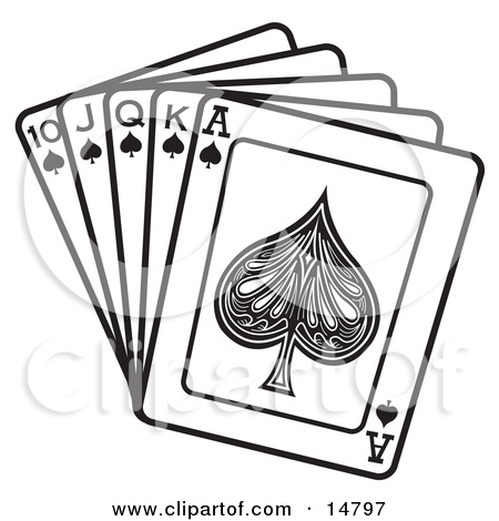 Ace playing card clipart. Black spade on a