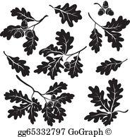 Acorn and oak leaf clipart jpg black and white library Oak Leaf Clip Art - Royalty Free - GoGraph jpg black and white library
