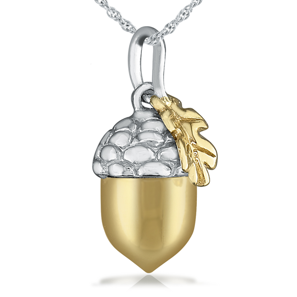Acorn necklace clipart png black and white Acorn Necklace, Yellow Gold Vermeil, Sterling Silver png black and white
