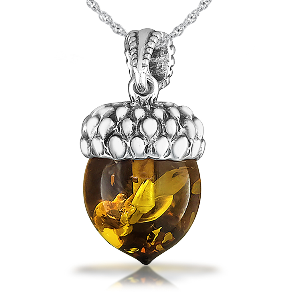 Acorn necklace clipart png royalty free library Small Acorn Necklace, Amber and Sterling Silver png royalty free library