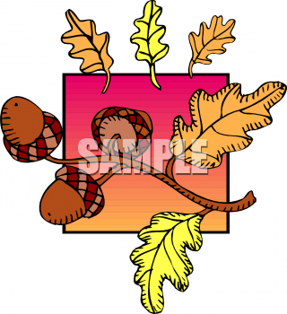 Acorns on twig clipart jpg black and white Seasons Clip Art Picture of an Oak Twig with Acorns and Fall Leaves jpg black and white
