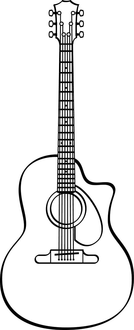White guitar clipart image transparent stock Guitar Line Art | Free download best Guitar Line Art on ClipArtMag.com image transparent stock