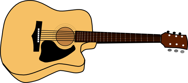 Acoustic Guitar Picture Clip Art at Clker.com - vector clip art ... banner black and white