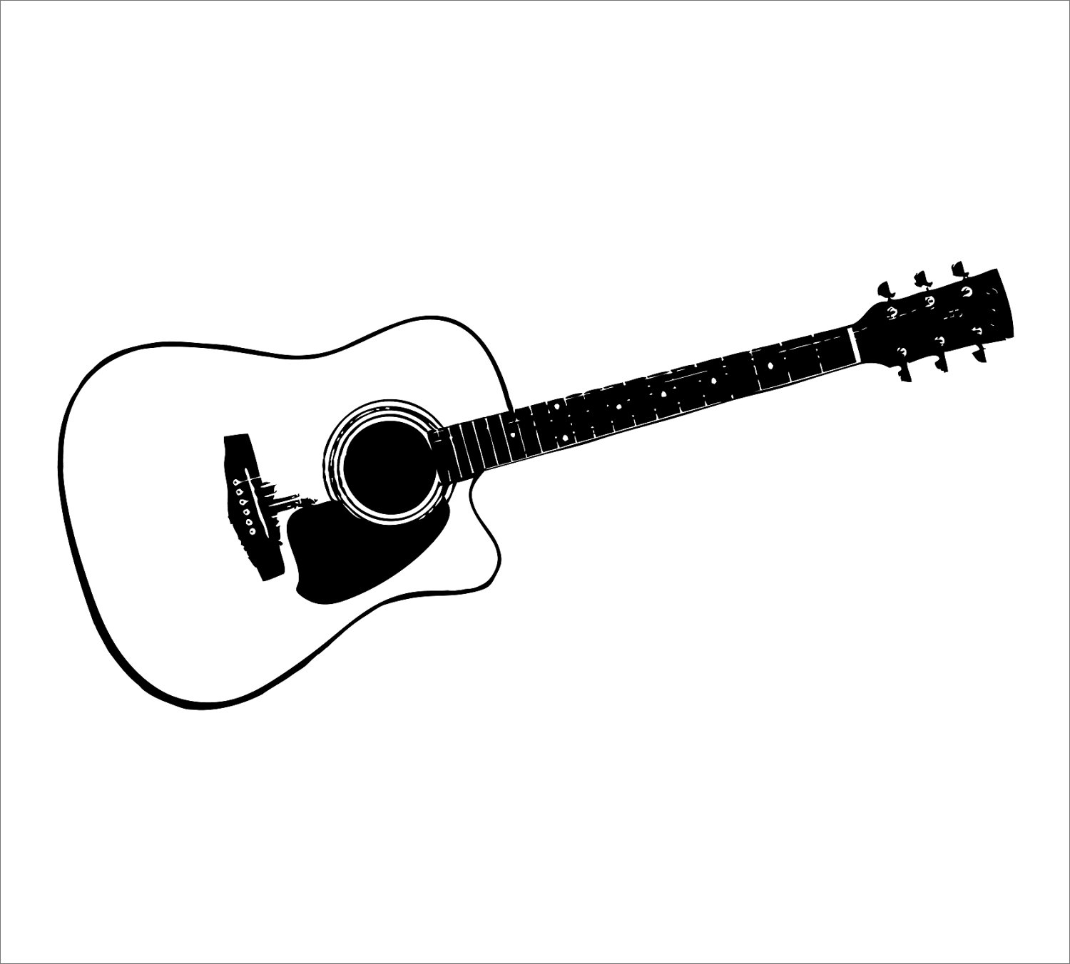 Acoustic guitar clipart black and white