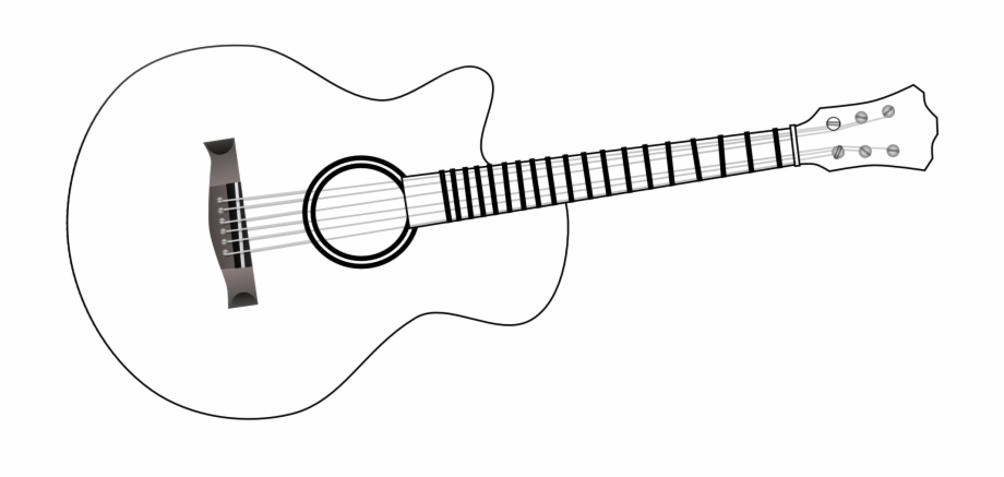 Acoustic guitar clipart black and white vector freeuse library Guitar Black And White Acoustic Guitar Clipart Png - White Guitar ... vector freeuse library