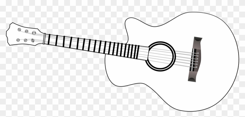 Acoustic guitar clipart black and white vector transparent stock Guitar Outline Clip Art Black And White - Acoustic Guitar, HD Png ... vector transparent stock